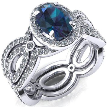 Polaris Oval Alexandrite 4 Claw Prongs Diamond Halo Full Eternity Accent Ring