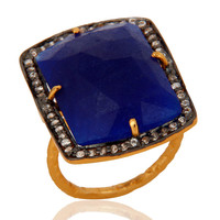 18K Gold Vermeil 925 Sterling Silver Faceted Semi-Precious Blue Aventurine Ring