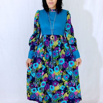 Vintage 60s Mod Teal Blue High Neck Flower Print Poet Sleeve Drop Waist Loose Fitting Maxi Dress M // L