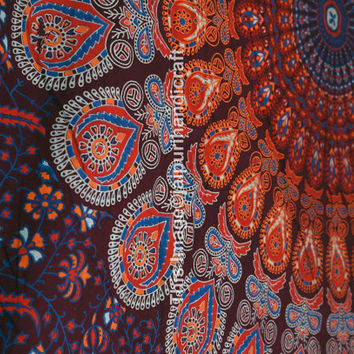 Twin Mandala Print Tapestry Throw Bed Sheet , Bedspread Indian Wall Hanging, Hippie Hippy , Bohemian Wall Hanging, Bedspread Beach Coverlet