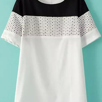 Black and White Color Block With Zipper Chiffon Top