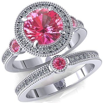 Brachium Round Lab-Created Pink Sapphire Bezel Milgrain Halo 3/4 Eternity Accent Diamond Ring
