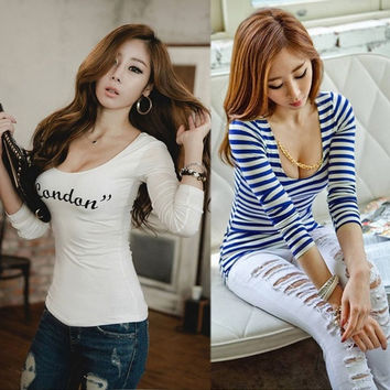 Women Sexy Pure Cotton V-Neck Stretchy long sleeve Tee T-shirt Tops Blouse 7E Z_G = 1828296964
