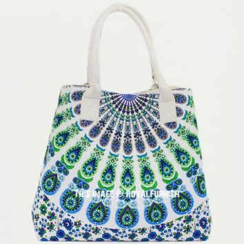 Blue  White Peacock Wings Printed Bohemian Beach Tote Bag for Women on RoyalFurnish.com