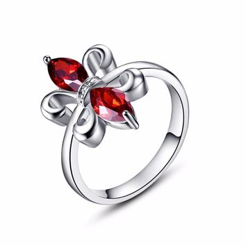 Luxury Royal Garnet Rings for Women Silver Nickel & Lead Free Fashion Party Band Jewelry Red Crystal Rings USA Size 6 7 8 9 10