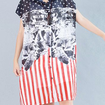 Casual Hollow Out Printed Star Vertical Striped Chiffon Shift Dress