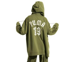 """Fenty X Puma Rihanna"" Women Casual Letter Numeral Embroidery Zip Cardigan Oversize Hooded Long Sleeve Sweater Coat"
