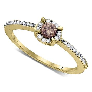 10kt Yellow Gold Women's Round Cognac-brown Color Enhanced Diamond Solitaire Bridal Wedding Engagement Ring 1/3 Cttw - FREE Shipping (US/CAN)