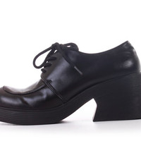 90s Vintage Platform Oxfords Black Vegan Leather Esprit Grunge Goth Hipster Chunky Shoes Women Size US 6.5 UK 4.5 EUR 37
