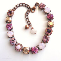 swarovski crystal tennis bracelet-better than sabika-antique rose-vintage style-victorian-GREAT PRICE