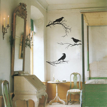 Crows On branches Vinyl Wall Decals Perfect Wall Stickers For Living Room Halloween Decoration Adesivos Decorativos