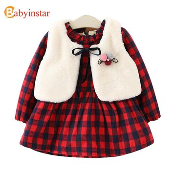Babyinstar Girls Dress Plus Velvet Plaid Dress + Vest 2pcs Winter Thick Warm Casual Princess Kids Dresses for Girls Party Dress