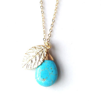 Ali Leaf and Turquoise Pendant