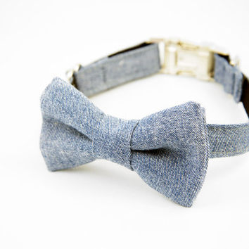 Chambray Bow Tie Dog Collar