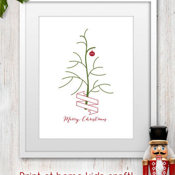 2014 Printable Kids Christmas Fingerprint Tree Craft