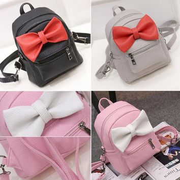 Mini Bow Backpack (Black, Grey, PInk)