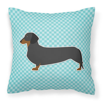 Dachshund  Checkerboard Blue Fabric Decorative Pillow BB3682PW1414