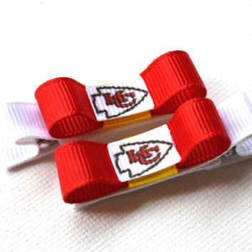 Kansas City Chiefs Hair Clips - Toddler Hair Clips - Kansas City Chiefs Baby - Kansas City Chiefs Stocking Stuffer