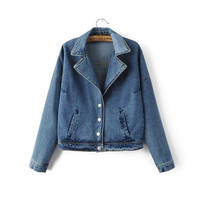 Cowl Neck Patch Denim Coat