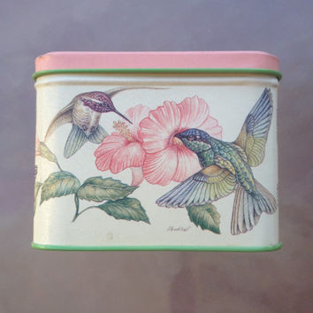 Hummingbird Tin, Potpourri Press Tin, hummingbird decor, Hummingbird box, vintage tin,