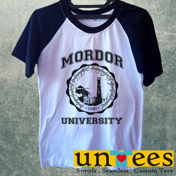 Lord of The Rings Mordor University Short Raglan Sleeves T-shirt