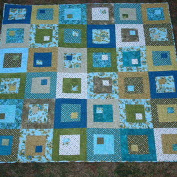 Aqua Teal and Green Lap Baby Throw Quilt