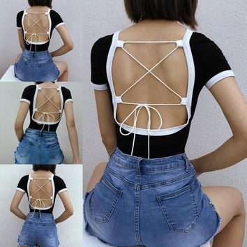 Novelty Letters Print Backless Rompers Jumpsuit Women Sexy Back Bandage Bodycon Leotard