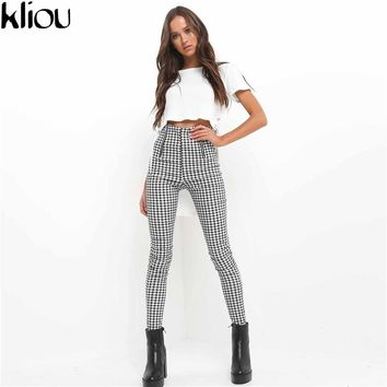 Kliou 2017 Gray White Plaid Pants Sweatpants Women Side Stripe Trousers Casual Cotton Comfortable Elastic Pants Joggers