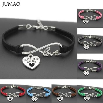 New Antique Silver Cute Pets Dog's Paw Heart Charm Infinity Love Bracelets Unique Dogs Store Best Friend Gifts For Women Men