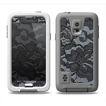 The Black Lace Texture Samsung Galaxy S5 LifeProof Fre Case Skin Set