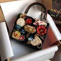 DCCK D007 Dolce Gabbana Fashion Flowers Handbag Black