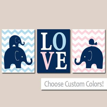 TWIN ELEPHANT Nursery Wall Art, Canvas or Prints, Baby Girl Boy Elephant Decor, Twin Bedroom Decor, Pink Navy Elephant Pictures Set of 3