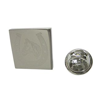 Silver Toned Etched Horse and Horse Shoe Lapel Pin