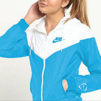 NIKE Popular Women Men Long Sleeve Print Hooded Zipper Coat Windbreaker Sportswear White Blue