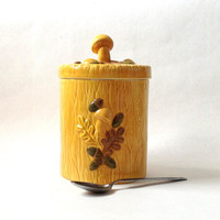Mustard Yellow Mushroom Ceramic Jar - Tea Jar - Florence 1978 - Mothers Day Gift - Retro Kitchen