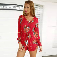 Floral V Neck Long Sleeve Romper