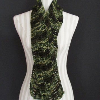 Jungle Camo Crochet Scarf Men Women Teen, Winter Accessories, Crochet Wool, Acrylic Blend Scarf, Winter Accessories, FREE US SHIPPING
