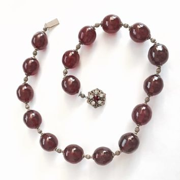 "Vintage 1950's Miriam Haskell 15"" Large Cranberry Pink Glass Beads with Gold Toned Spacers Necklace with signed Rhinestone Clasp, Fab Color!"