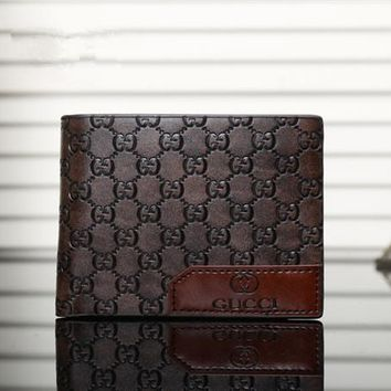 """Gucci"" Men Purse Simple Classic Letter  Logo Embossed Short Section Multi-card Bit Fold Wallet"