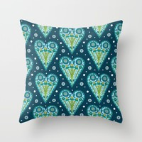 Floral Hearts Throw Pillow by Sarah Oelerich