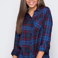 Crew Plaid Top - Blue