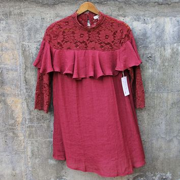 Rosalyn Lace Dress in Burgundy