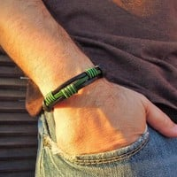 Wrap Bracelet,Black&Green Genuine Leather
