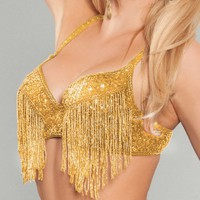 Gold Fringed Rave Bra | Rave Outfits for Women | Sequin Rave Bra