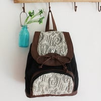 Black Rucksack with Lace Detail