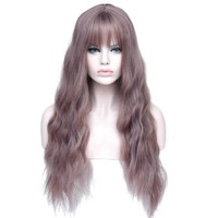 Long Mix Purple Heat Resistant Synthetic Curly Wig with Bangs
