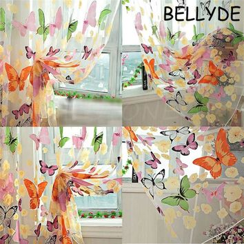 Home Decor Romantic Bedroom Cheap Ready Made Finished Organza Child Window Cortina Butterfly Print Curtain for Living Room