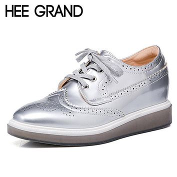 HEE GRAND Silver Brogue Shoes Woman 2017 Platform Oxfords Vintage Creepers Casual Wedges Pumps Spring High Quality XWD4889