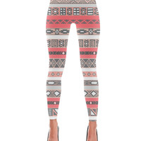 Coral Salmon Peach Grey Aztec Pattern Print Leggings