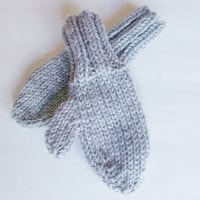 Hand Knit Toddler Mittens, Size 1 to 2 Years, Warm Winter Mittens, Ready To Ship, Neutral Gray, Boy or Girl Hand Warmers 12 to 24 Months